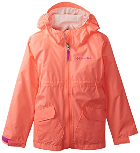 Columbia Big Girls' Girls Trail Trooper Rain Jacket, Coral Glow, Large