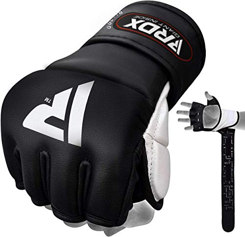 RDX MMA Gloves for Grappling Martial Arts Training | Approved by SMMAF | Genuine Cowhide Leather...