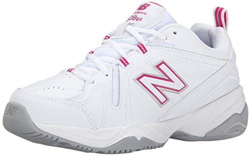 New Balance Women's 608 V4 Casual Comfort Cross Trainer, White/Pink, 8.5 D US