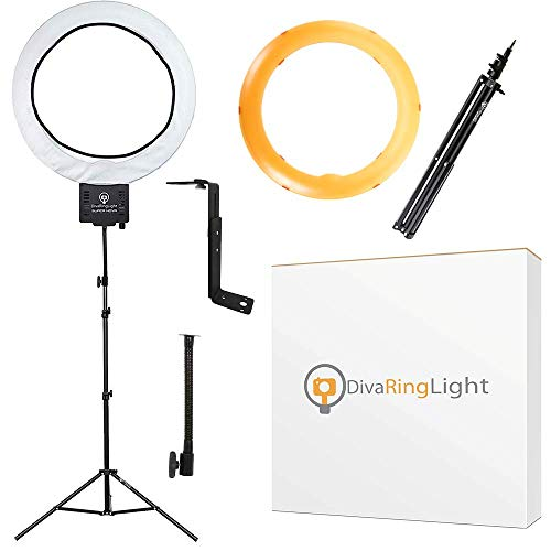 Diva Ring Light Super Nova 18' Dimmable w/ 6' Stand - Professional Studio Lighting Kit for YouTube,...