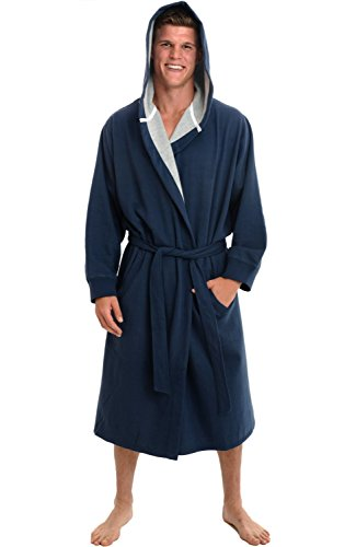 Alexander Del Rossa Mens Warm Sweatshirt Cotton Robe with Hood, Large-XL Midnight Blue (A0311MBLXL)