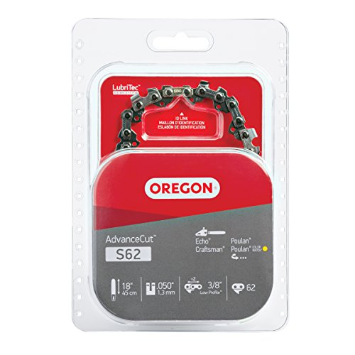 Oregon S62 AdvanceCut Chainsaw Chain for 18-Inch Bar; Fits Echo CS-400 and CS-370, Poulan 2150 and...