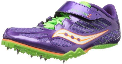 Saucony Women's Spitfire Track Shoe,Purple/Slime,8.5 M US