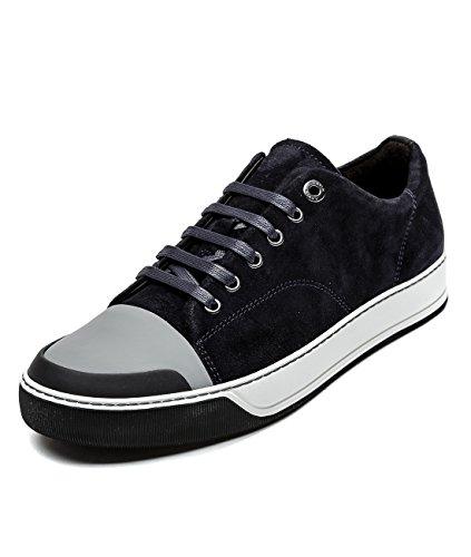 Wiberlux Lanvin Men's Suede Low Top Sneakers 5 Dark Blue