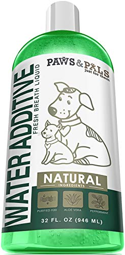 Dog Breath Freshener Water Additive - Dental Care Bad Breath Treatment for Dogs & Cats 32-oz...