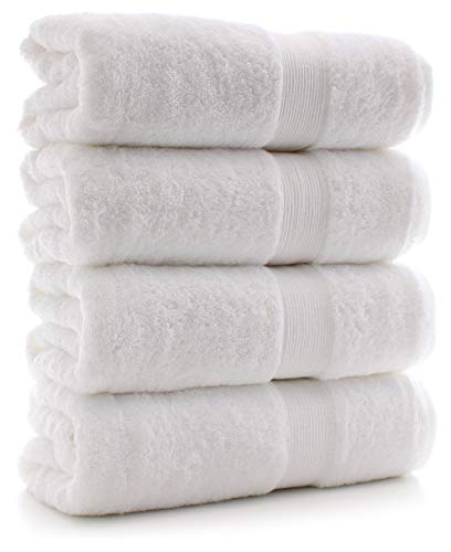 Chakir Turkish Linens Thick Channel 100% Turkish Cotton 4 Pack Bath Towel Set, White