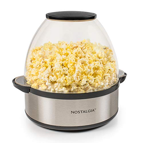 Nostalgia Stainless Steel 6-Quart Stirring Speed Popper with Quick-Heat Technology 24 Popcorn, with...
