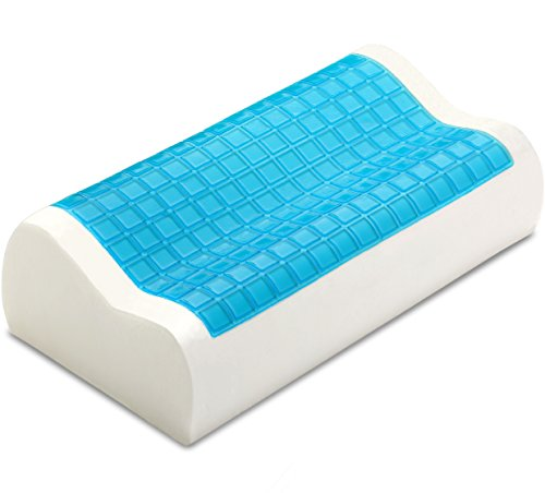 PharMeDoc Contour Memory Foam Pillow w/Cooling Gel Technology - Orthopedic Curved Support Pillow...