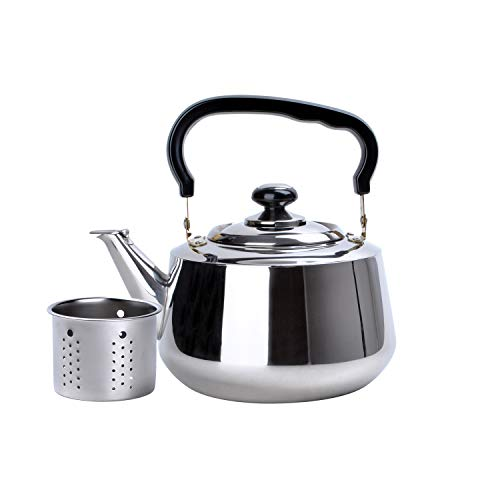 Aramco WLA020 Alpine Cuisine Tea Kettle & Strainer, 3 L, Stainless Steel