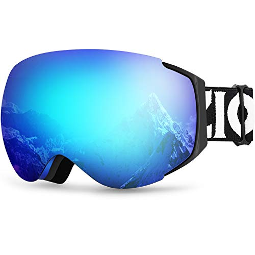 ZIONOR X6 Ski Snowboard Snow Goggles OTG for Men Women Youth Anti-Fog UV Protection (VLT 18.4% Blue...