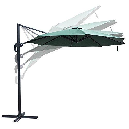 Leesons Inc 10 Feet Rome Outdoor Patio Umbrella Cantilever Hanging Offset Crank Tilt Pedal UV30