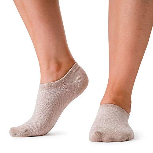 Bam&bü Women's Premium Bamboo No Show Casual Socks - 3 pairs - Beige - Small
