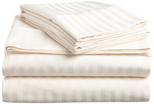 Elaine Karen Striped 4PC Queen Sheet Set, Ivory