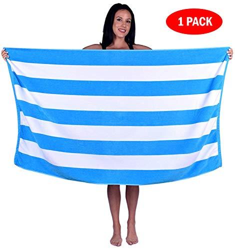 Turquoise Textile 100% Turkish Cotton Eco-Friendly Cabana Stripe Pool Beach Towel, 35x60 Inch (1...