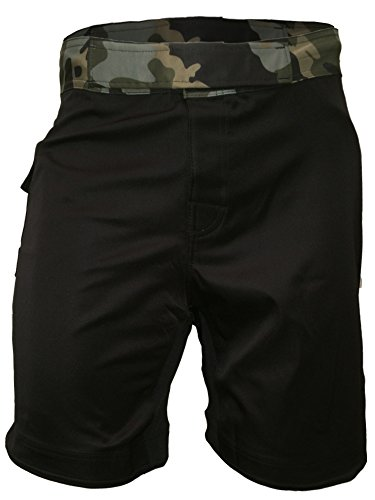 Epic MMA Gear WOD Shorts 10' Inseam - Impact 2.0 Series - Side Pocket, 5' Slits. (Black/Camo, 32)