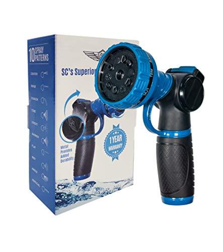 SC Water Metal Garden Hose Nozzle Anti Leak Heavy Duty- 10 Pattern Anti Rust No Squeeze Sprayer...