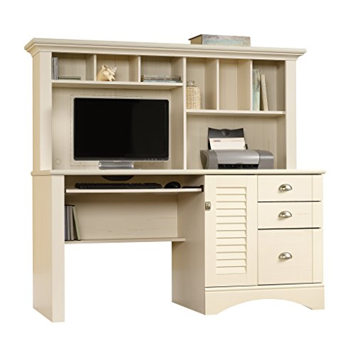 Sauder Harbor View Computer Desk With Hutch, Antiqued White finish