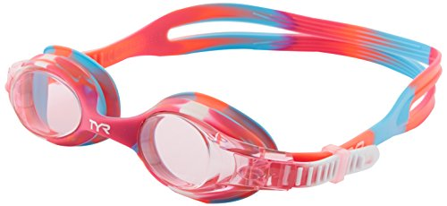TYR Youth Tie Dye Swimple Goggles, Pink/White, One Size, Age 3-10
