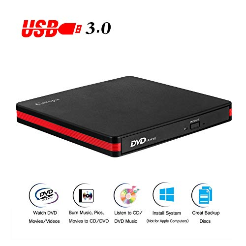 Cocopa External CD DVD Drive USB 3.0 Portable CD DVD +/-RW Drive Slim DVD/CD ROM Rewriter Burner...