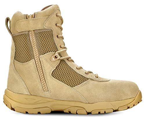 Maelstrom Men's LANDSHIP 8 Inch Military Tactical Duty Work Boot with Zipper, Black, 10.5 M US
