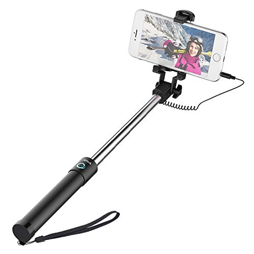 Selfie Stick, JETech One-Piece U-Shape [Battery Free] Extendable Wired Cable Control Self-Portrait...