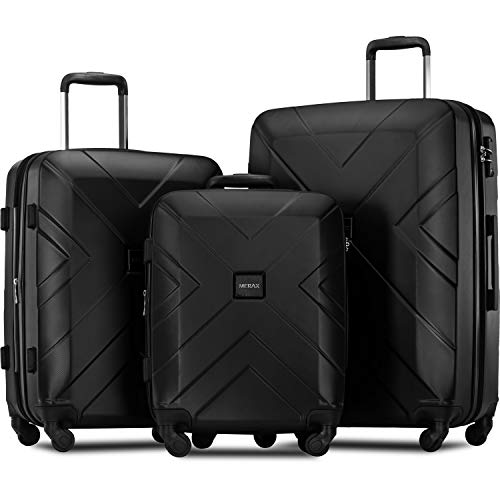 Merax 3 Piece Luggage Sets Expandable ABS Spinner Suitcase with TSA Lock 20 inch 24 inch 28 inch...