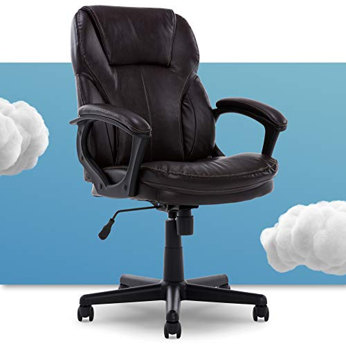 Serta Manager Office Chair with Layer Body Pillow | Faux Leather with Contoured Lumbar and...