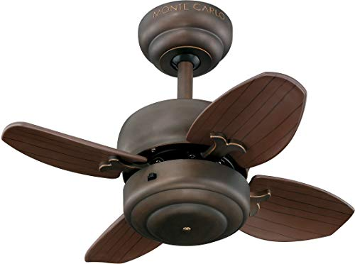 Monte Carlo 4MC20RB Mini 20' Ceiling Fan with Pull Chain for Small Space, 4 Blades, Roman Bronze