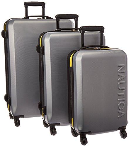 Nautica 3 Piece Hardside Spinner Luggage Set, Silver/Black/Empire Yellow