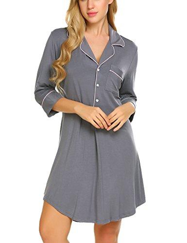 Ekouaer Night Shirts Woman Comfortable Sleep Tee Shirts Long Pajama Tops (Navy, Small)