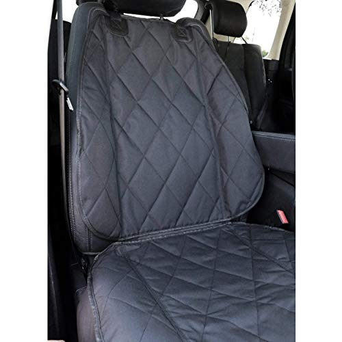 BarksBar Pet Front Seat Cover for Cars - Black, Nonslip Backing with Anchors, Quilted, Padded,...