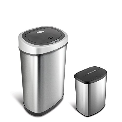 NINESTARS CB-DZT-50-9/8-1 Automatic Touchless Infrared Motion Sensor Trash Can Combo Set, 13 Gal 50L...