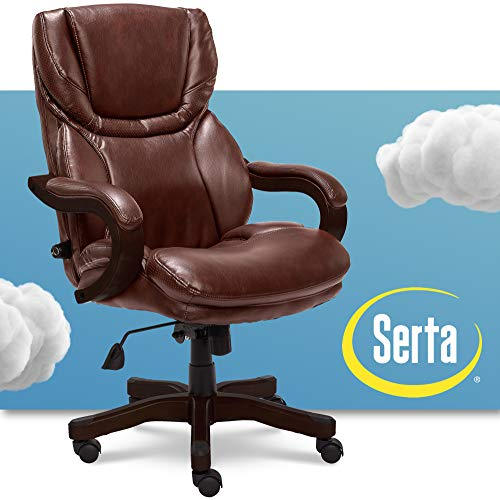 Serta Big and Tall Executive Office Chair with Wood Accents Adjustable High Back Ergonomic Lumbar...