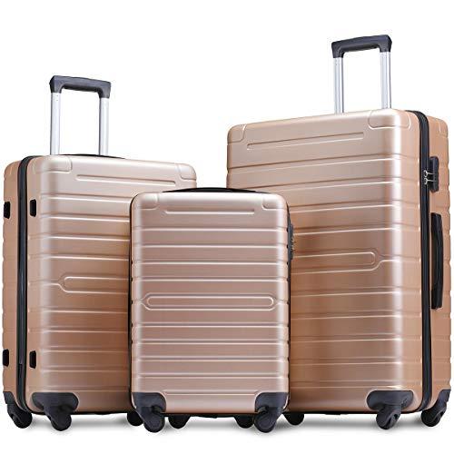 Flieks Luggage Sets 3 Piece Spinner Suitcase Lightweight with TSA Lock 20 24 28 inch (Steel.Blue)...