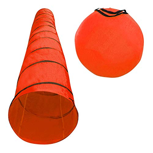 Houseables Dog Tunnel, Agility Equipment, 18 Ft Long, 24' Open, Red, 1 Pk, Polyester, Play Tunnels...