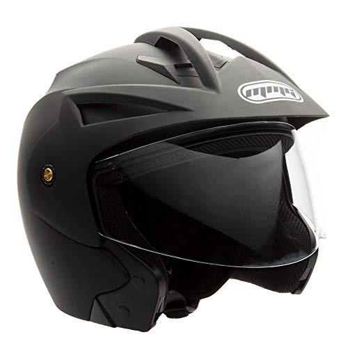 MMG Model 20 Motorcycle Open Face Helmet DOT Street Legal - Flip Up Clear Visor - Matte Black - XL