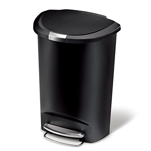 simplehuman 50 Liter / 13 Gallon Semi-Round Kitchen Step Trash Can, Black Plastic With Secure Slide...