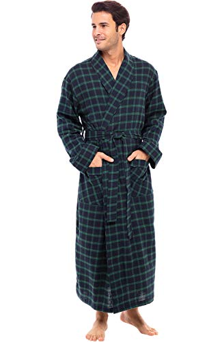 Alexander Del Rossa Men's Lightweight Flannel Robe, Soft Cotton Kimono, Large Blue and Green Plaid...