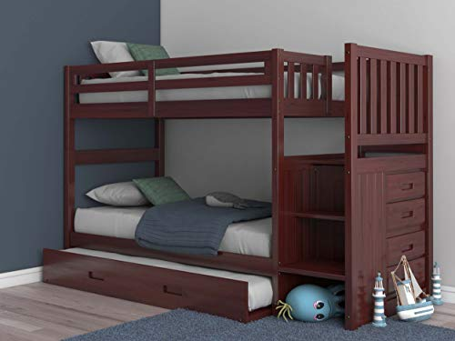 Mission Twin Over Twin Staircase Bunk Bed with Trundle in Merlot Finish