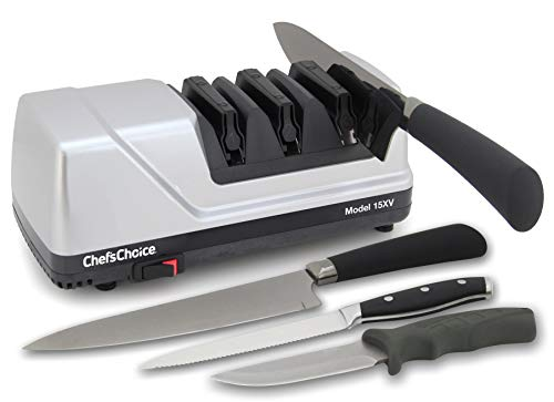 Chef'sChoice Trizor XV EdgeSelect Professional Electric Knife Straight and Serrated Knives Diamond...