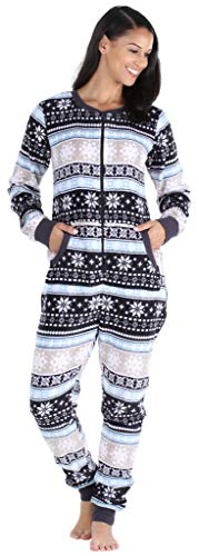 PajamaMania Women's Plush Fleece Non-Footed Onesie Loungewear Pajamas, Fairisle (PMPFR1018-2016-XL)