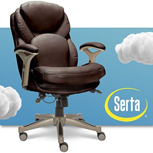Serta Ergonomic Executive Office Chair Motion Technology Adjustable Mid Back Design with Lumbar...