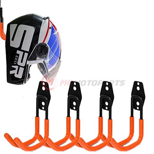 MC MOTOPARTS Orange Wall Mount Helmet Half Full Shield Helmet Hook Holder x4 Large Double Iron...