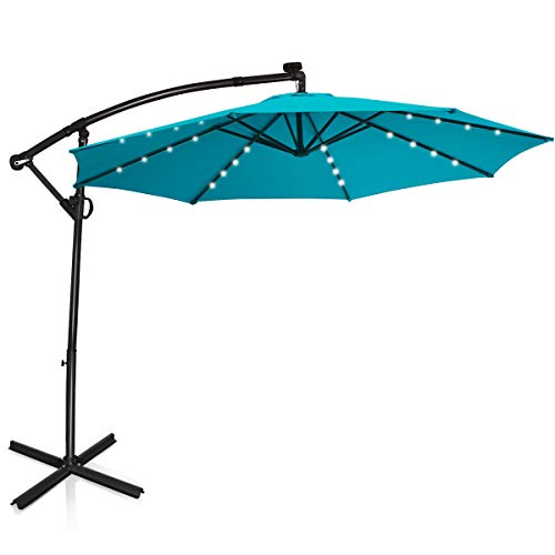 Tangkula 10 FT Patio Offset Umbrella with 360 Degree Rotation, Solar Powered LED Umbrella with Crank...