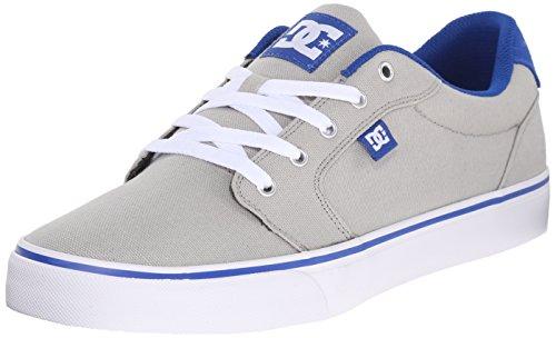 DC Men's Anvil TX Skate Shoe, Grey/Blue, 7 M US