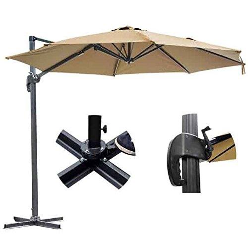 KOVAL INC. 10ft Outdoor Patio Cantilever Offset Umbrella with Stand Tan