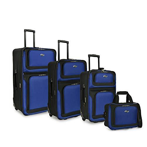 U.S. Traveler New Yorker Lightweight Softside Expandable Travel Rolling Luggage Set, Royal Blue,...