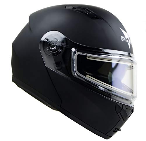 Advantage Modular Snowmobile Helmet w/Heated Shield & Sunshield Vega Helmets Matte Black SM