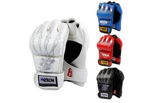 SKL Half Finger Boxing Gloves Sanda Fighting Sandbag Gloves MMA UFC (Black with Skull Fingers)