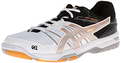 ASICS Men's Gel-Rocket, White/Silver/Black, 7 M US